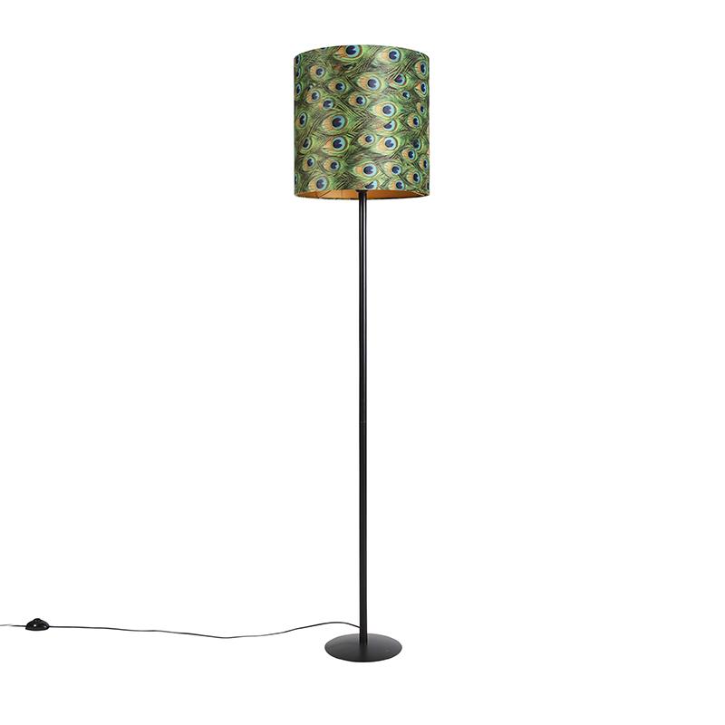 Zwarte vloerlamp met velours kap pauw met goud 40 cm - Simplo