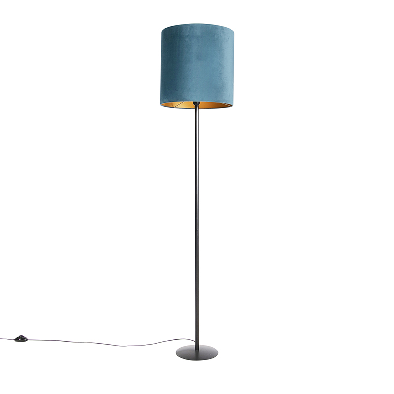 Zwarte vloerlamp met velours kap blauw met goud 40 cm - Simplo