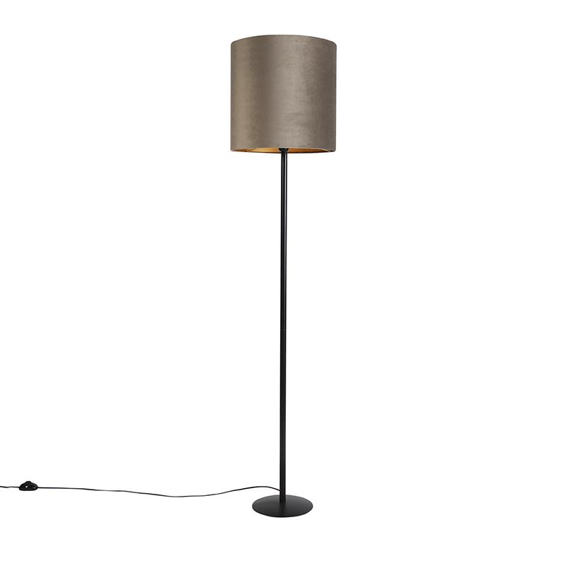 Zwarte vloerlamp met velours kap taupe met goud 40 cm - Simplo