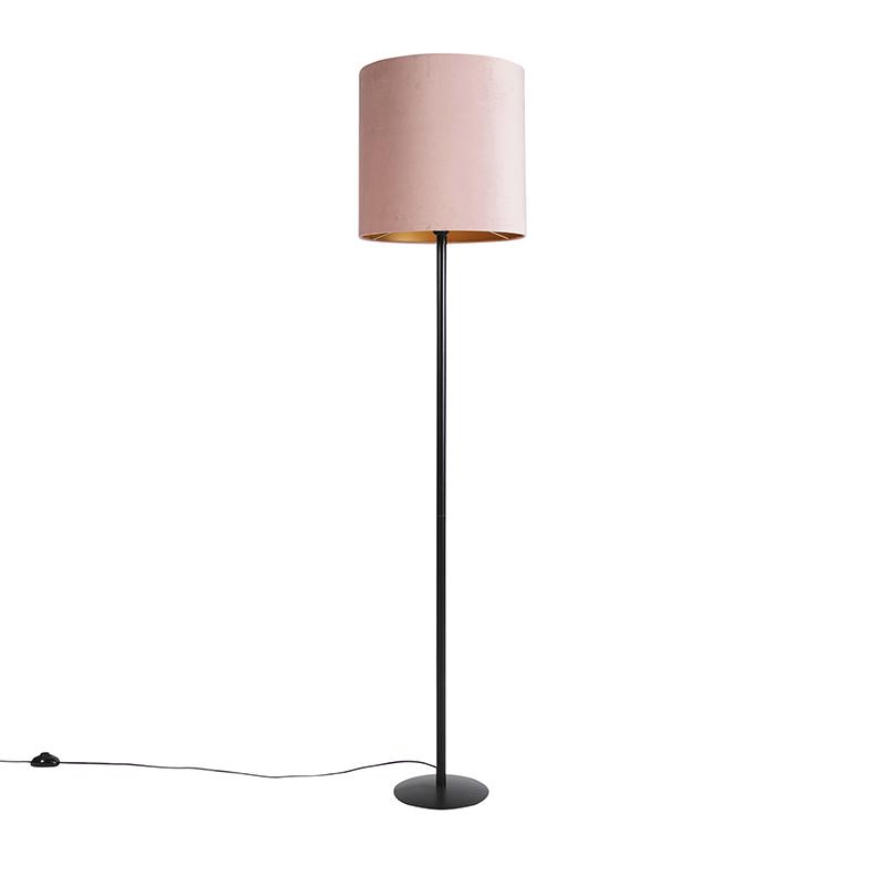 Zwarte vloerlamp met velours kap roze met goud 40 cm - Simplo