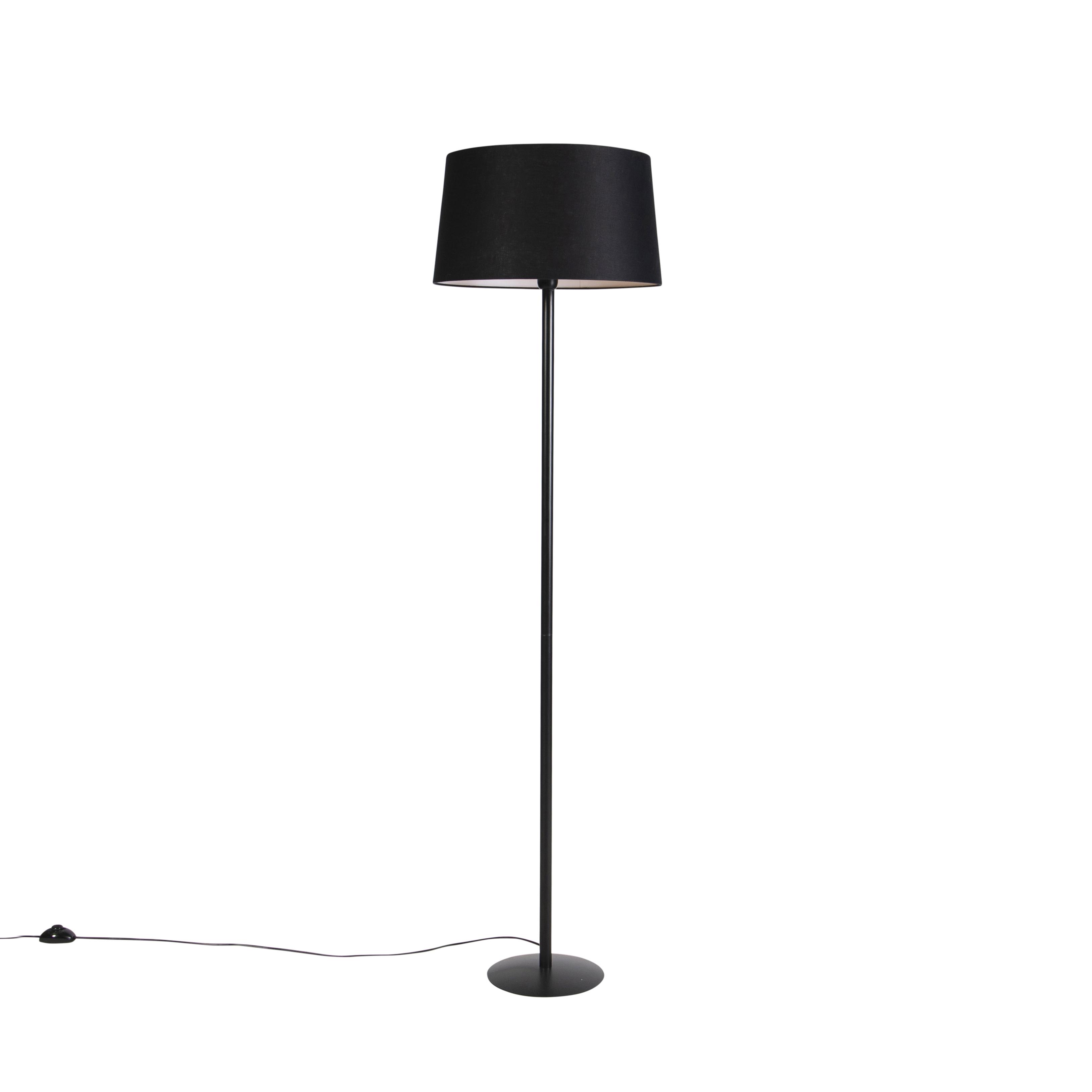 Zwarte vloerlamp met linnen kap zwart 45 cm - Simplo
