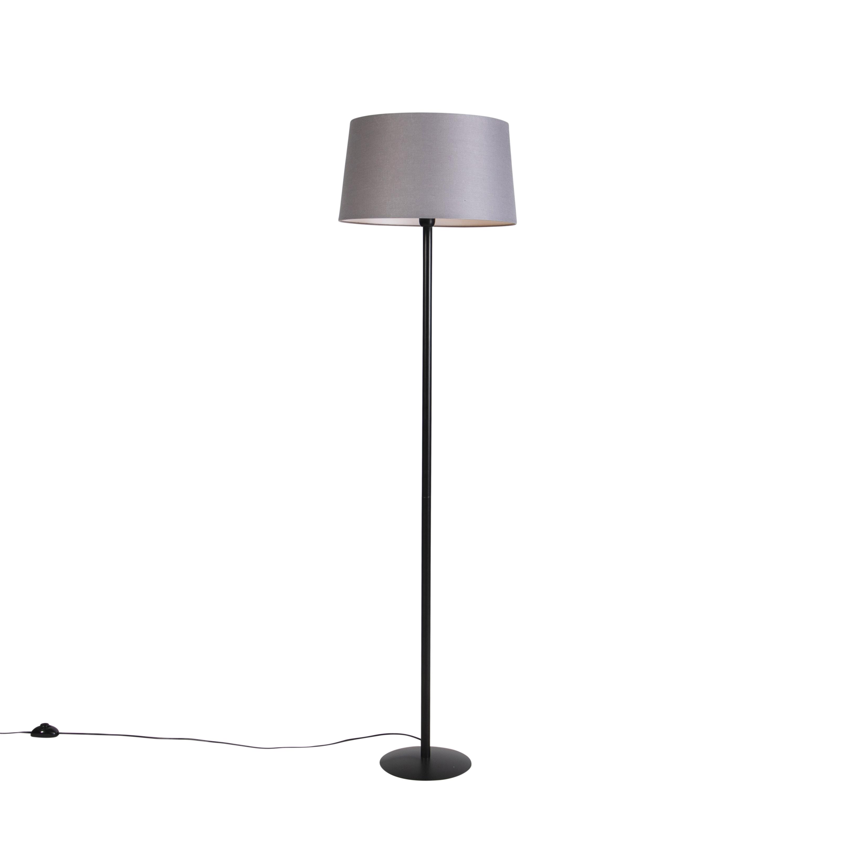 Zwarte vloerlamp met linnen kap donkergrijs 45 cm - Simplo