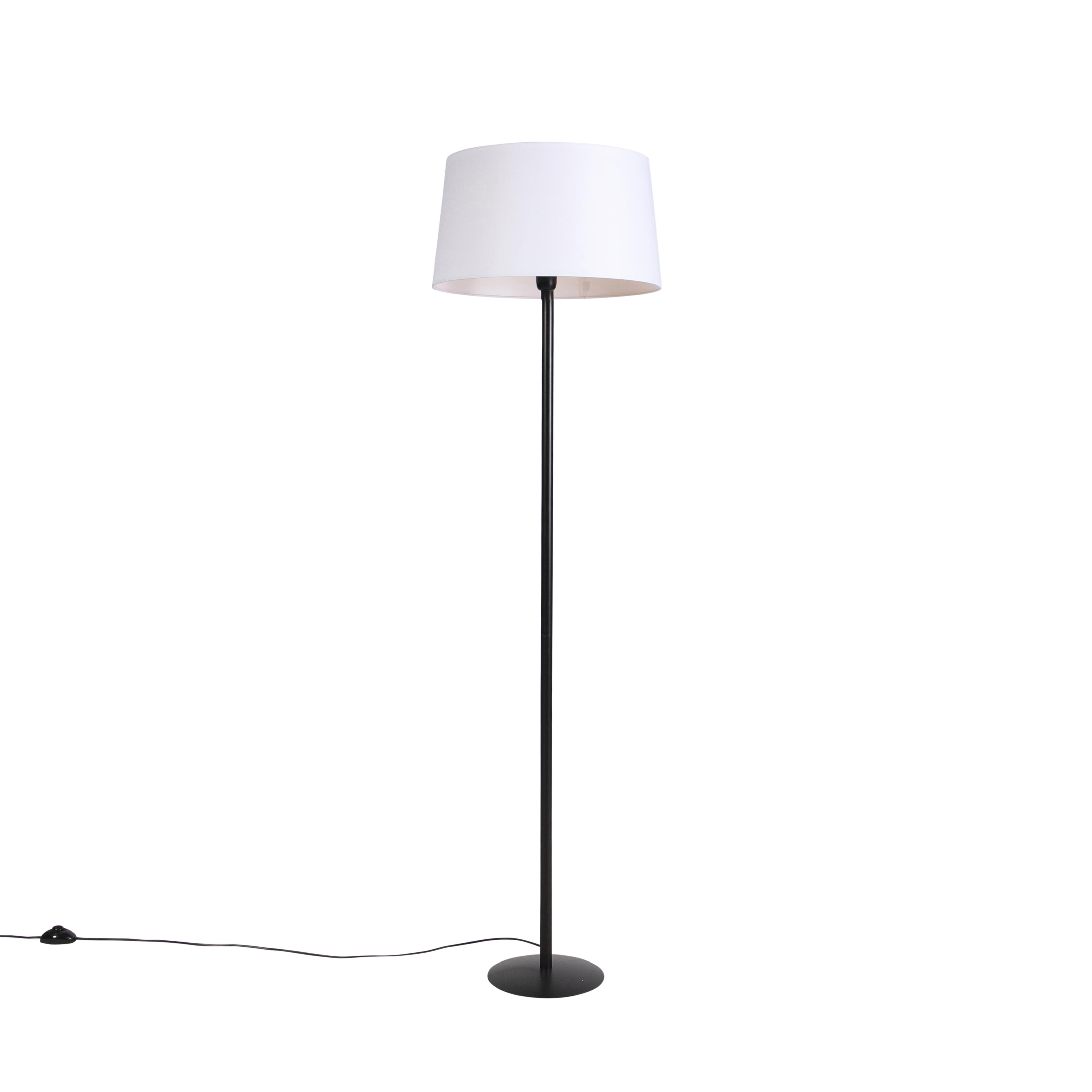 Zwarte vloerlamp met linnen kap wit 45 cm - Simplo