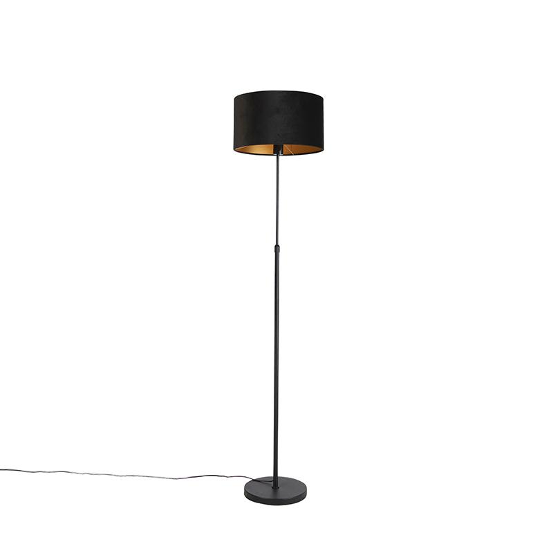 Zwarte vloerlamp met velours kap zwart met goud 35 cm - Parte