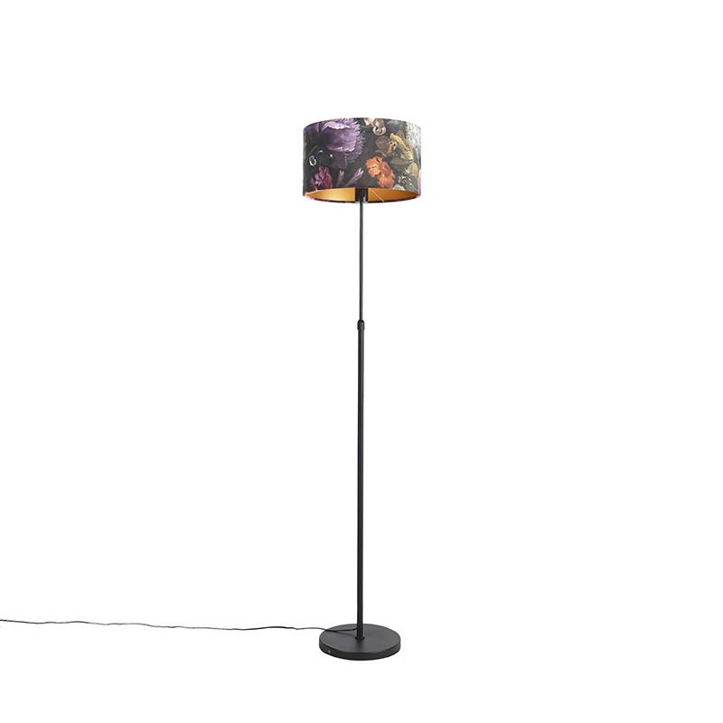 Zwarte vloerlamp met velours kap bloemen met goud 35 cm - Parte