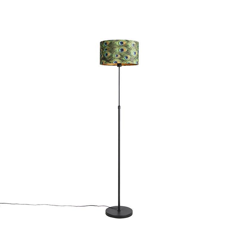 Zwarte vloerlamp met velours kap pauw met goud 35 cm - Parte