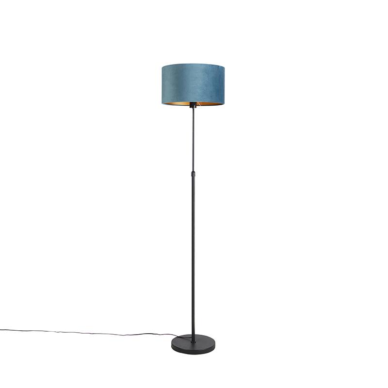 Zwarte vloerlamp met velours kap blauw met goud 35 cm - Parte