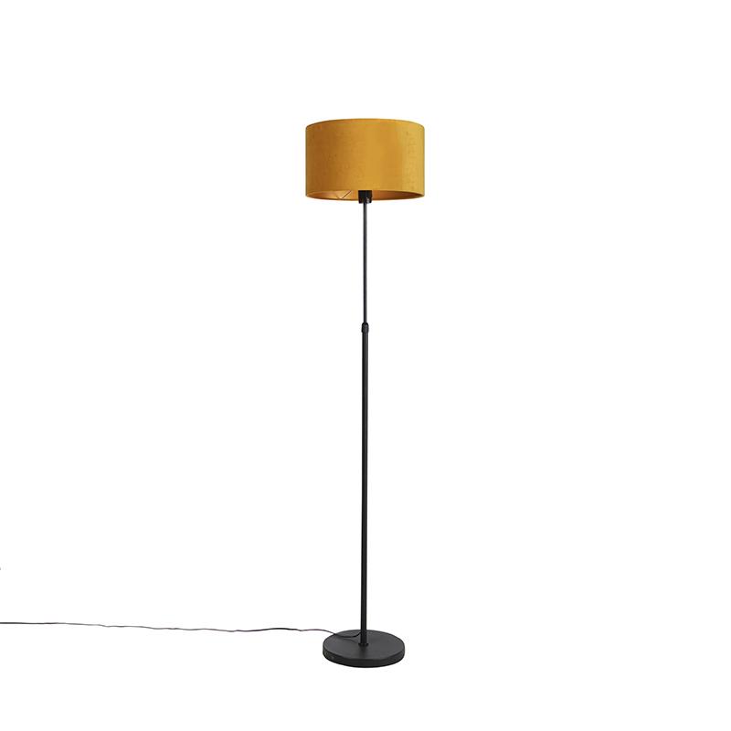 Zwarte vloerlamp met velours kap oker met goud 35 cm - Parte