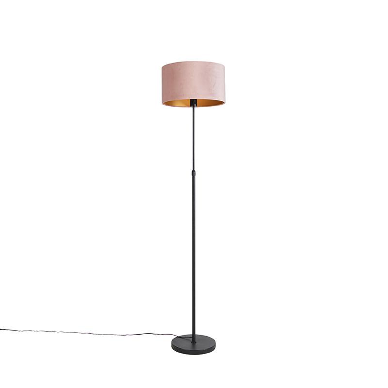 Zwarte vloerlamp met velours kap roze met goud 35 cm - Parte