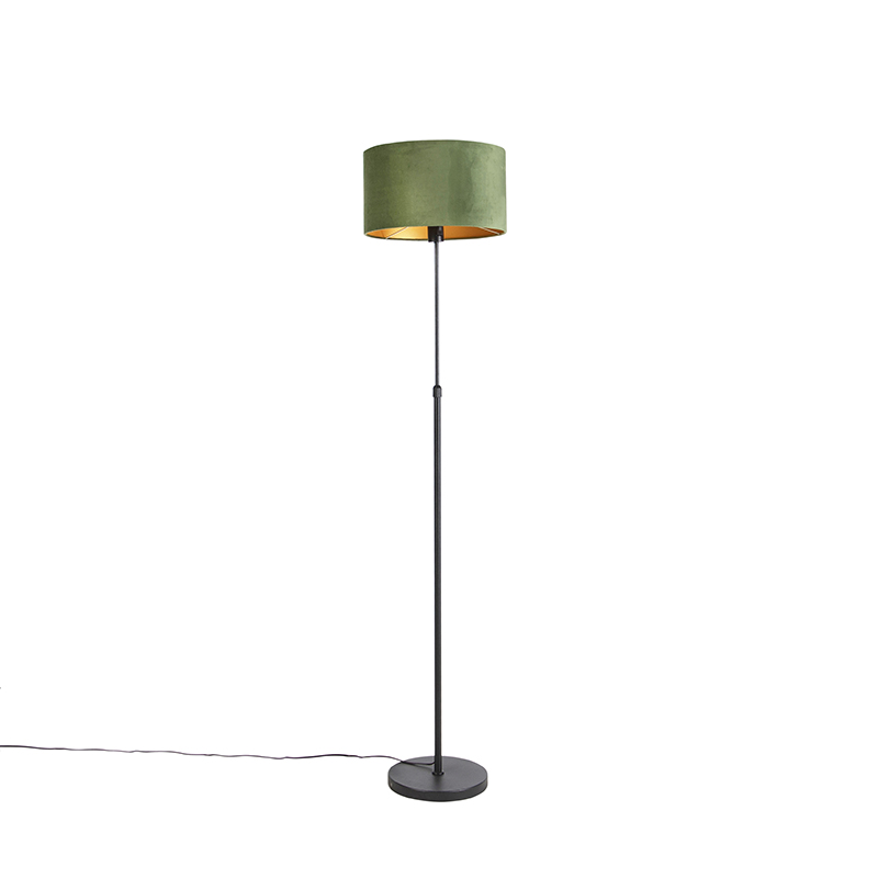 Vloerlamp zwart met velours kap groen met goud 35 cm - Parte