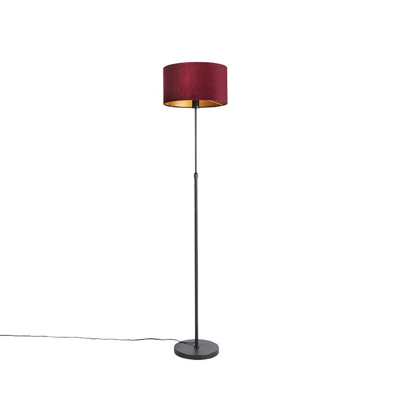 Zwarte vloerlamp met velours kap rood met goud 35cm- Parte
