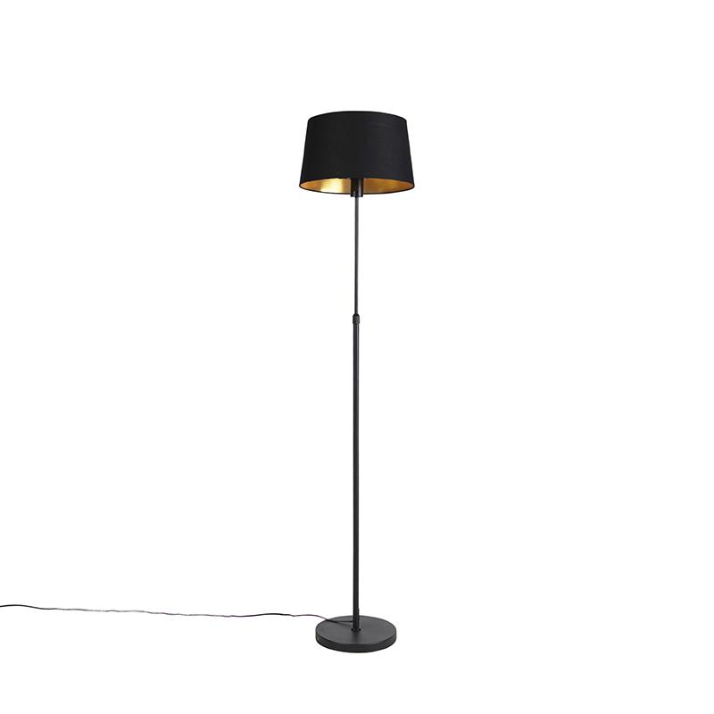 Zwarte vloerlamp met katoenen kap zwart met goud 35 cm - Parte