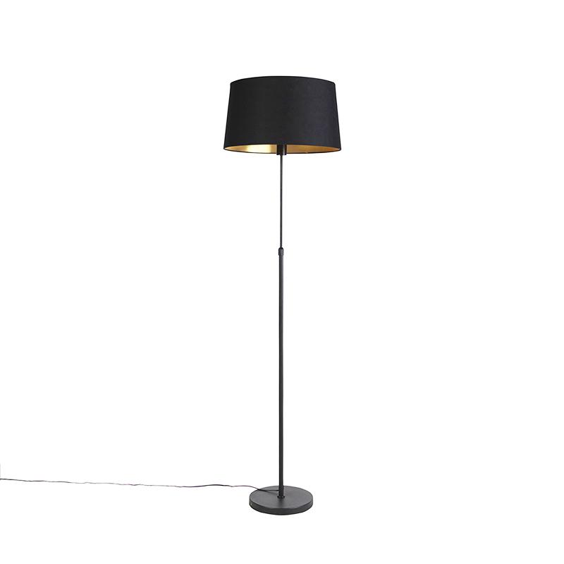 Zwarte vloerlamp met katoenen kap zwart met goud 45 cm - Parte