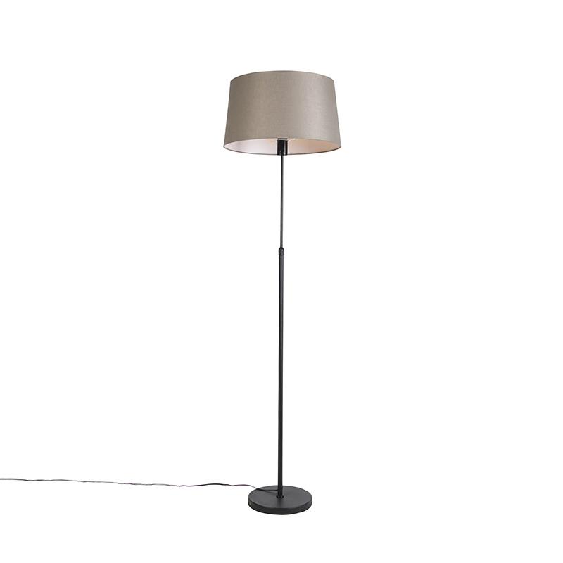 Zwarte vloerlamp met linnen kap taupe 45 cm - Parte