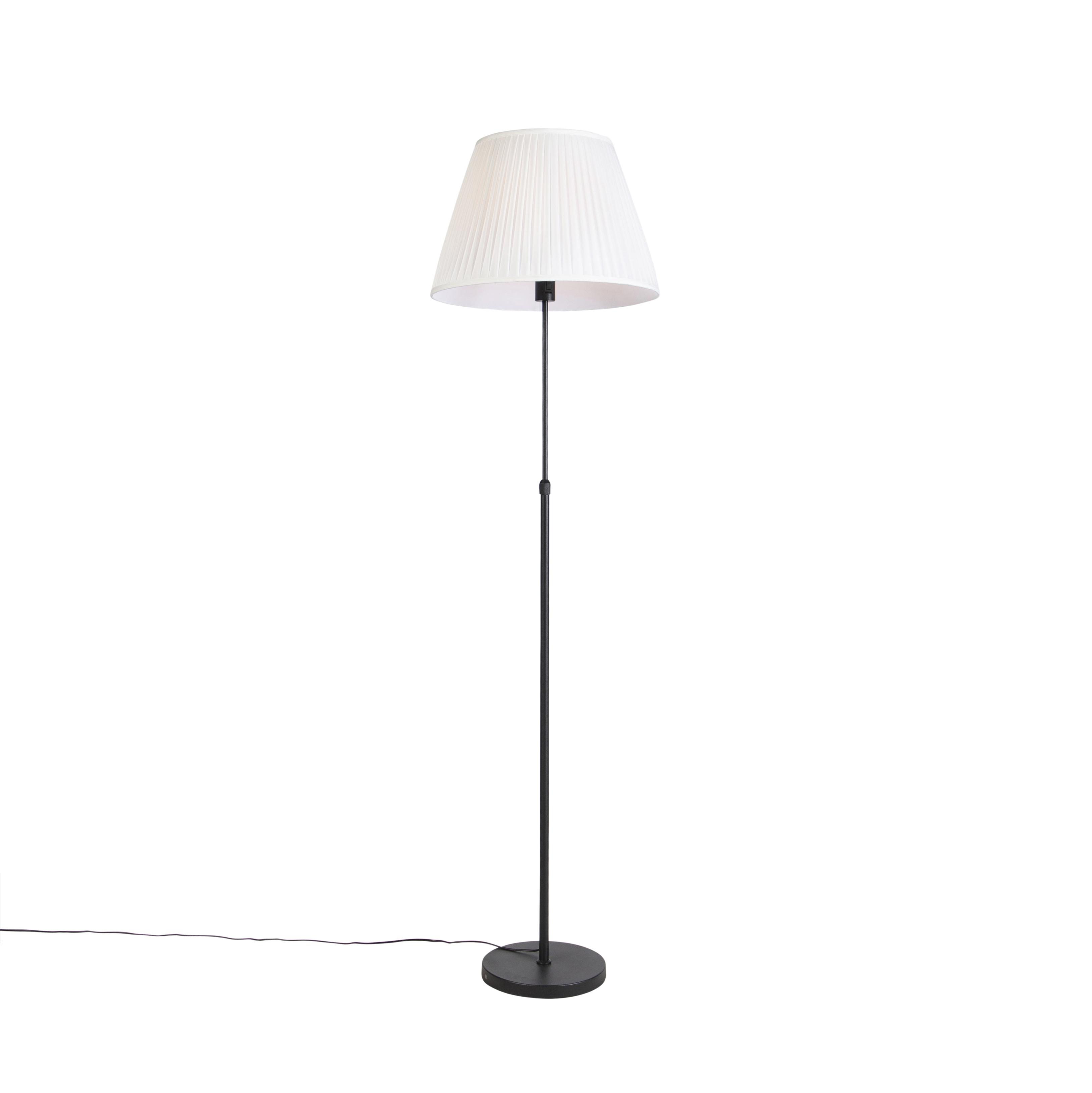 Vloerlamp zwart met plisse kap crème 45 cm verstelbaar - Parte