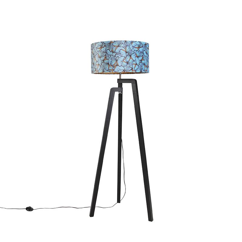 Zwarte vloerlamp met velours kap vlinders met goud 50 cm - Puros