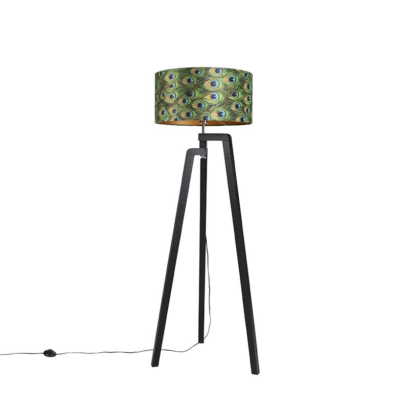 Zwarte vloerlamp met velours kap pauw met goud 50 cm - Puros
