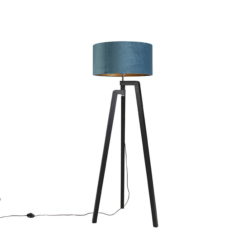 Zwarte vloerlamp met velours kap blauw met goud 50 cm - Puros