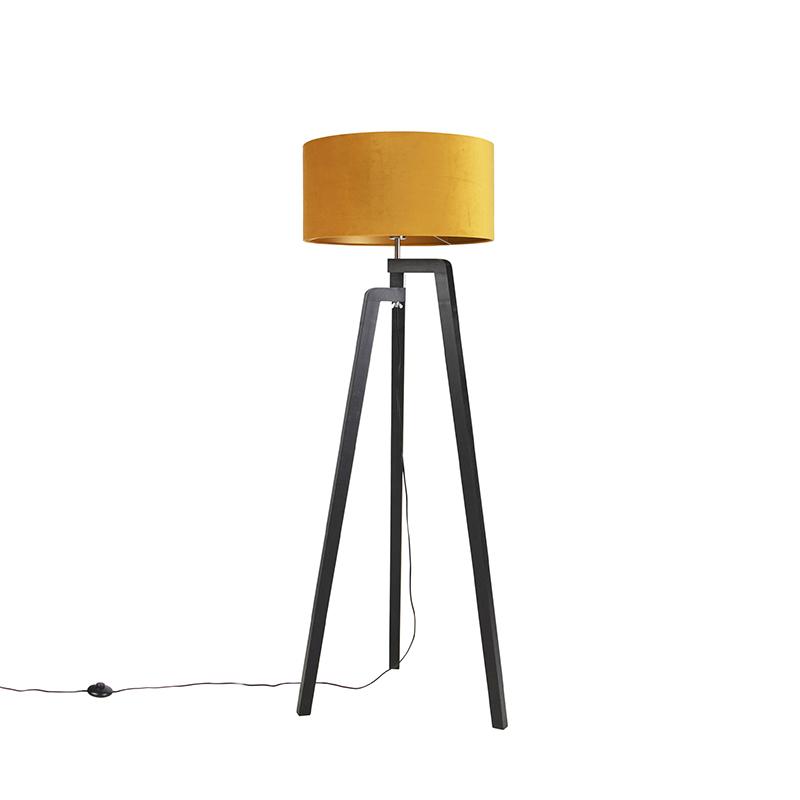 Vloerlamp tripod zwart met gele kap en goud 50 cm - Puros