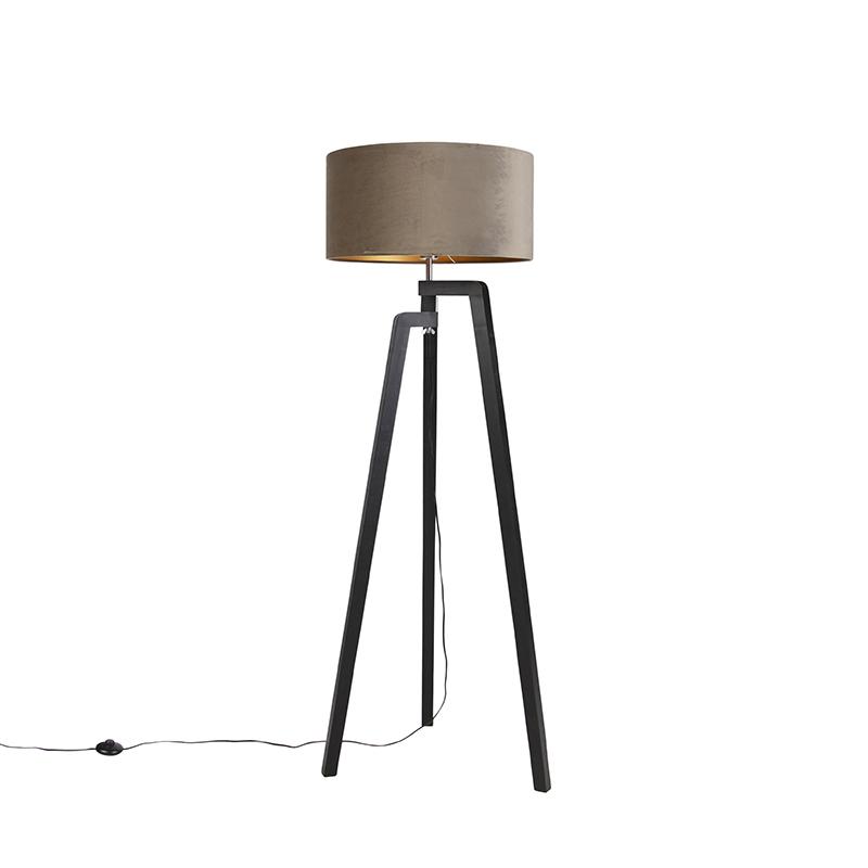 Zwarte vloerlamp met velours kap taupe met goud 50 cm - Puros
