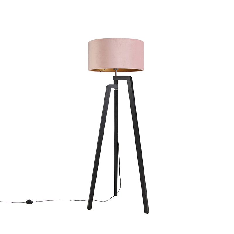 Zwarte vloerlamp met velours kap roze met goud 50 cm - Puros