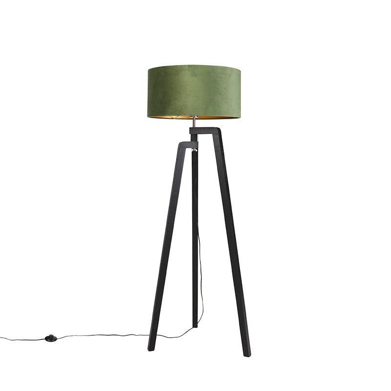 Zwarte vloerlamp met velours kap groen met goud 50 cm - Puros