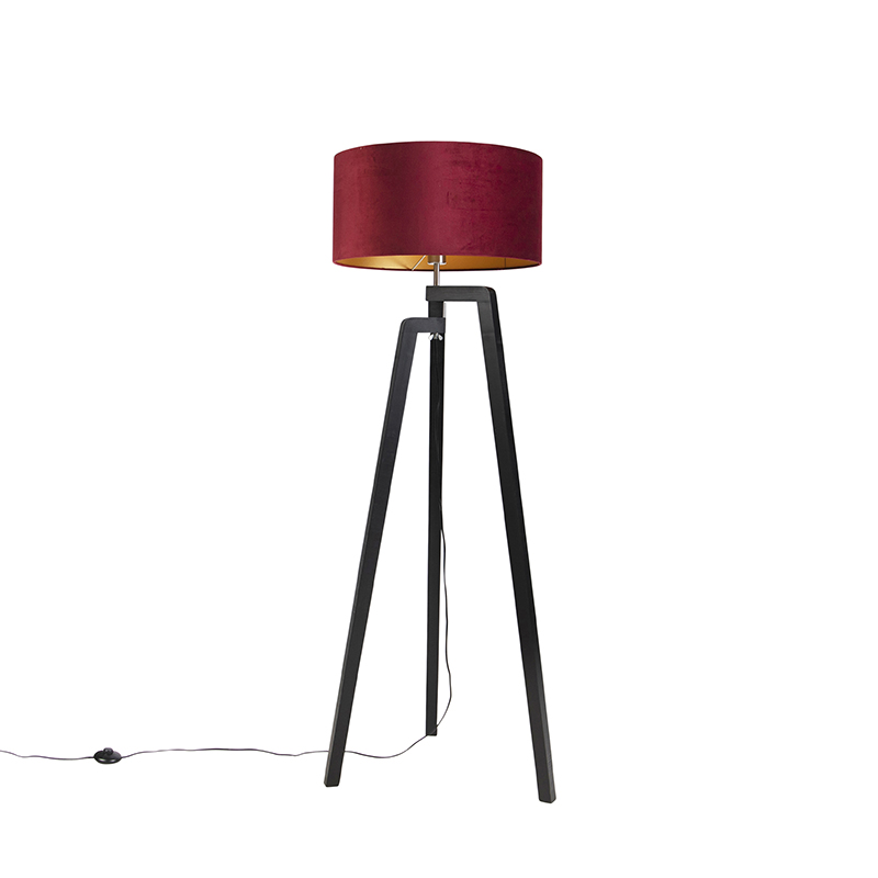Zwarte vloerlamp met velours kap rood met goud 50 cm - Puros