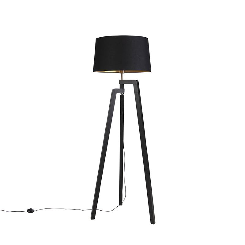Zwarte vloerlamp met katoenen kap zwart met goud 50 cm - Puros