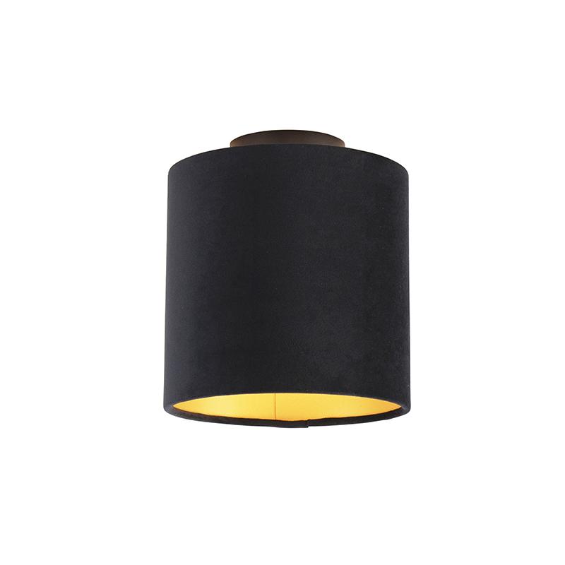 Plafondlamp met velours kap zwart met goud 20 cm - Combi zwart
