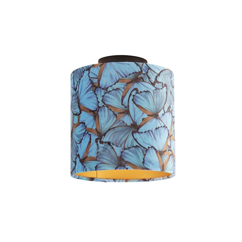 Plafondlamp met velours kap vlinders met goud 20 cm - Combi zwart