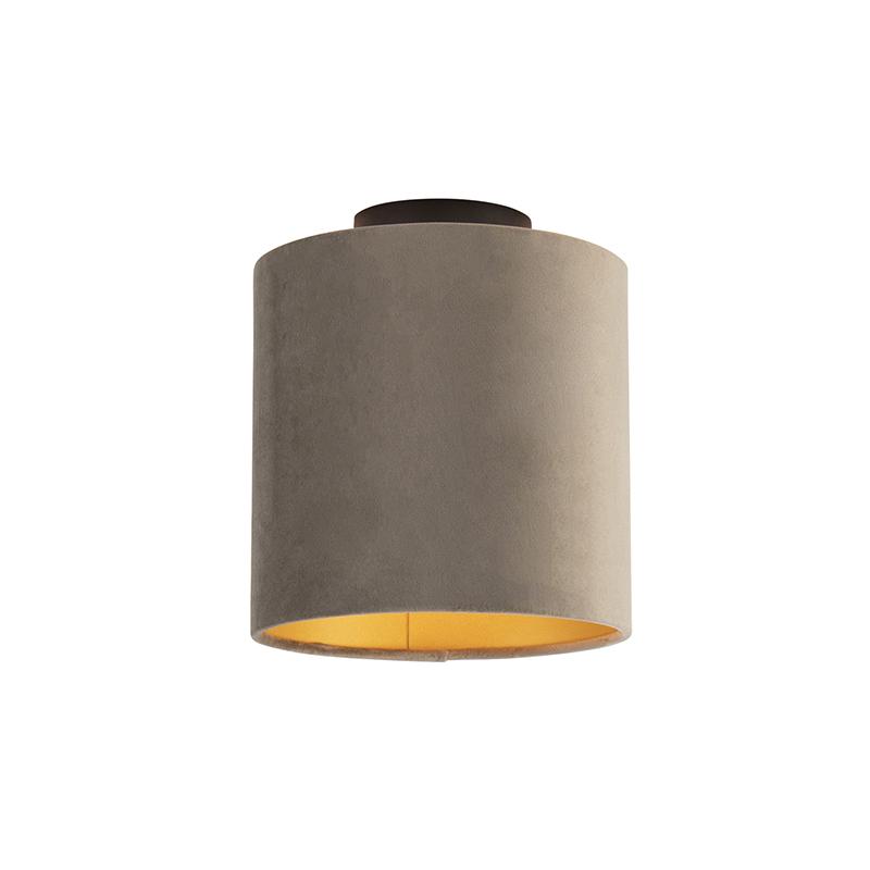 Plafondlamp met velours kap taupe met goud 20 cm - Combi zwart