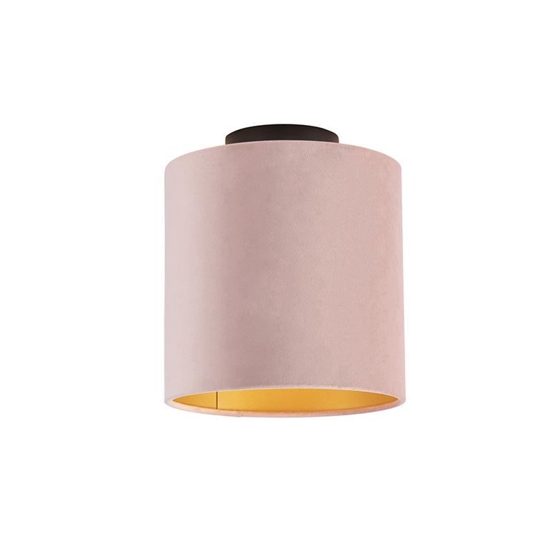 Plafondlamp met velours kap oud roze met goud 20 cm - Combi zwart