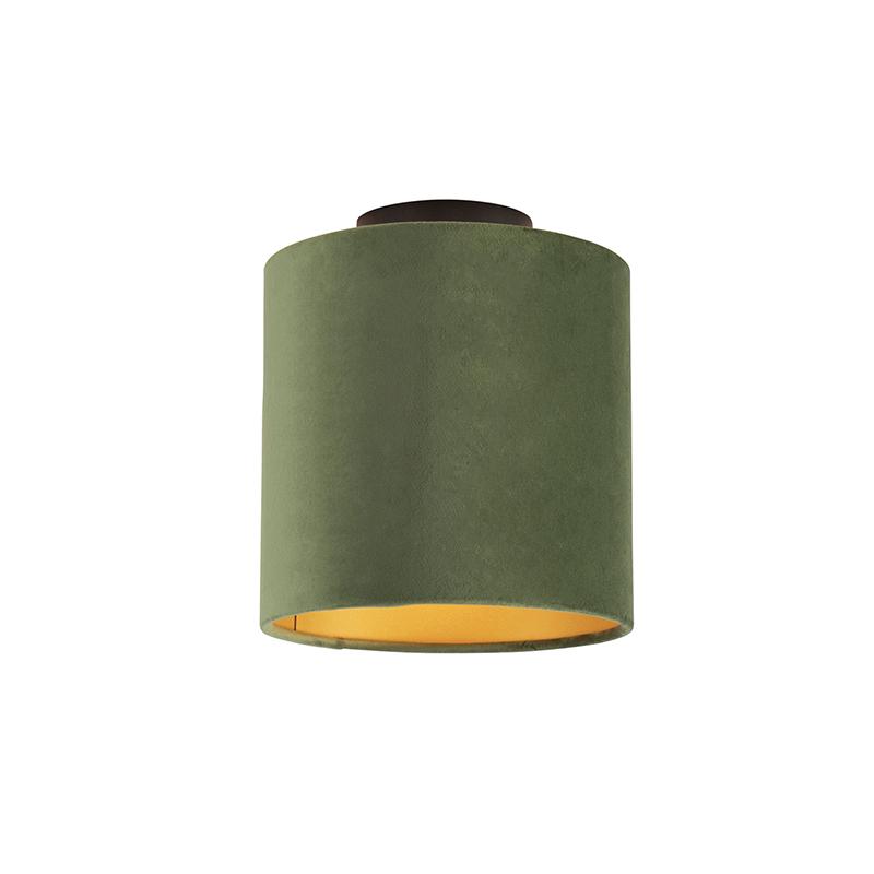 Plafondlamp met velours kap groen met goud 20 cm - Combi zwart