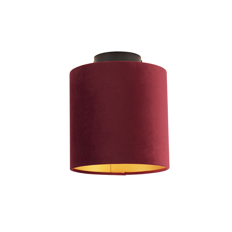 Plafondlamp met velours kap rood met goud 20 cm - Combi zwart