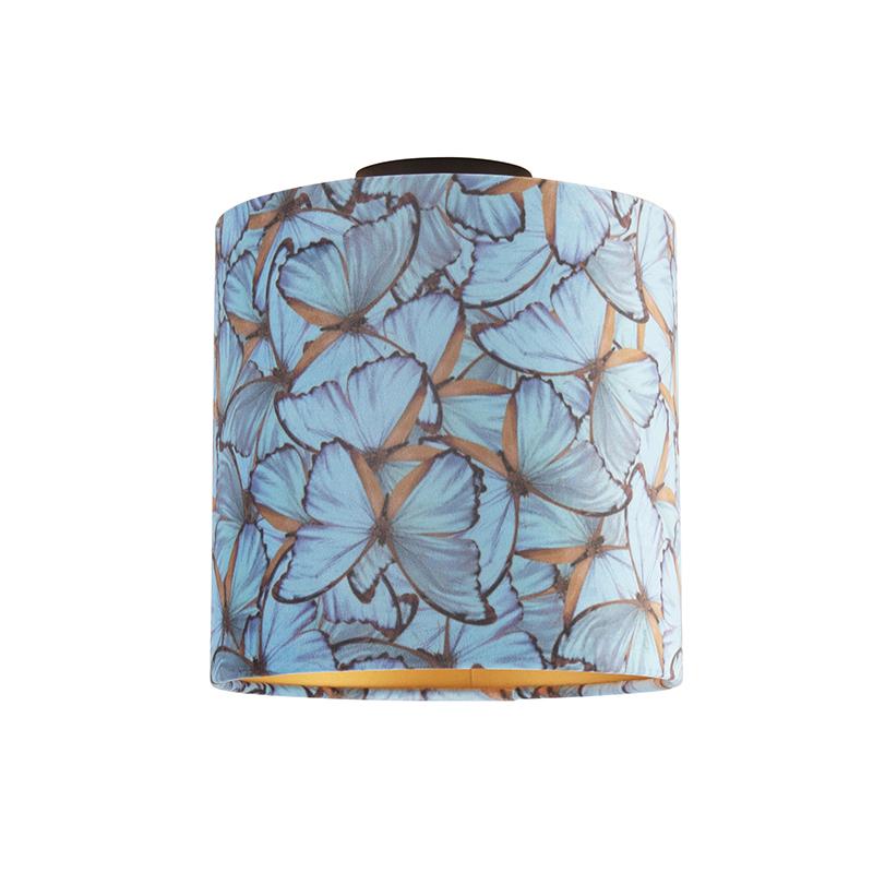 Plafondlamp met velours kap vlinders met goud 25 cm - Combi zwart