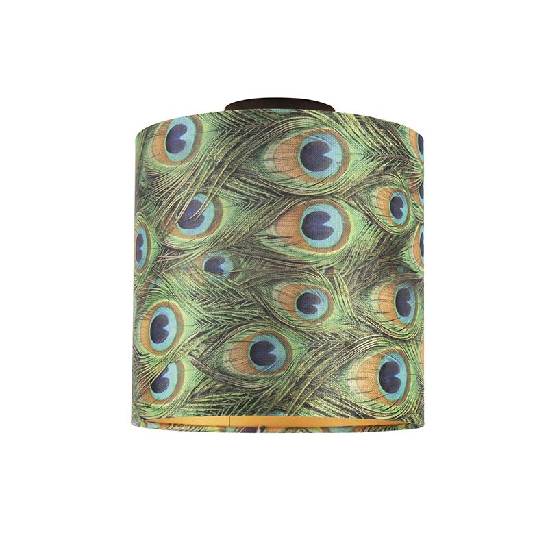 Plafondlamp met velours kap pauw met goud 25 cm - Combi zwart