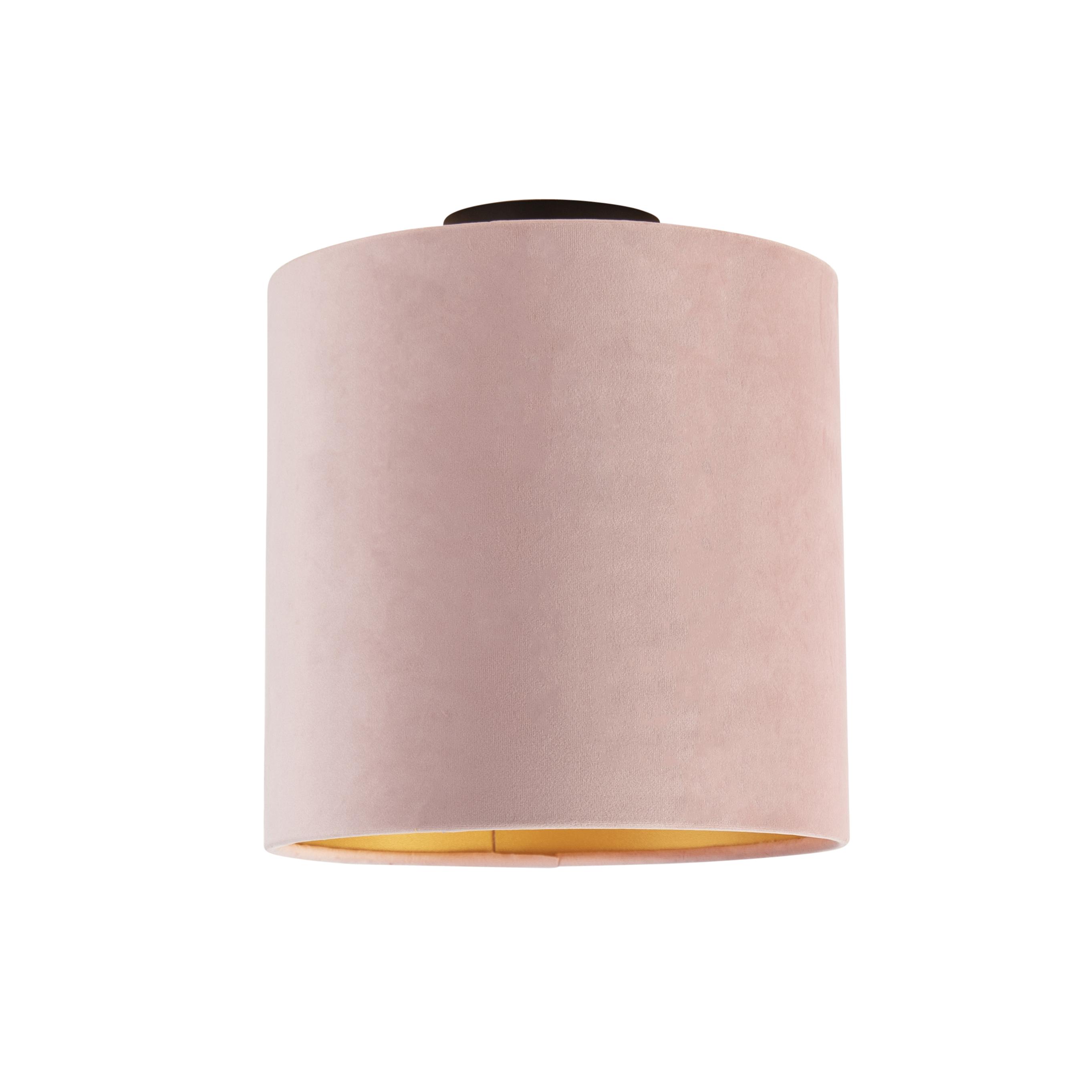 Plafondlamp met velours kap oud roze met goud 25 cm - Combi zwart