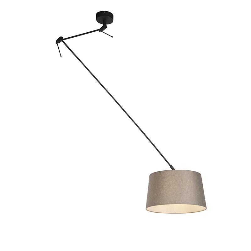 Hanglamp met linnen kap taupe 35 cm - Blitz I zwart