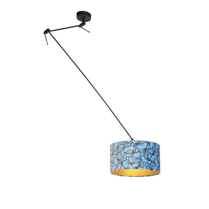 Lampa wisząca regulowana czarna klosz welurowy motyle 35cm - Blitz I