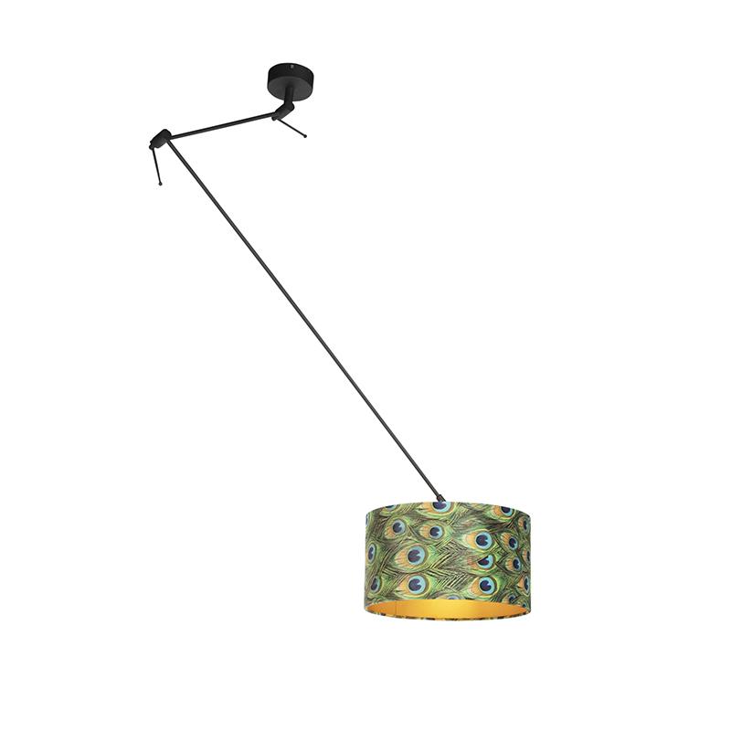 Lampa wisząca regulowana czarna klosz welurowy pawie oczka 35cm - Blitz I