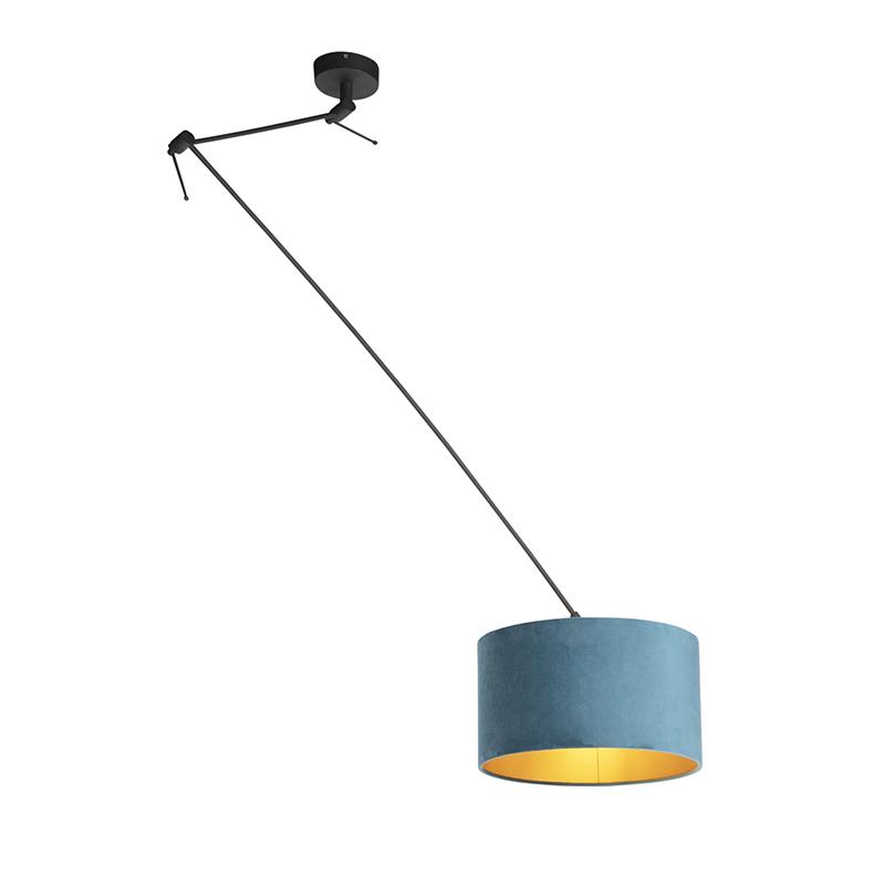 Hanglamp met velours kap blauw met goud 35 cm - Blitz I zwart