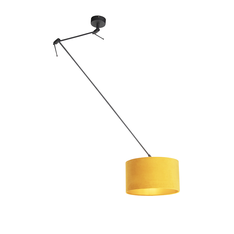 Hanglamp met velours kap oker met goud 35 cm - Blitz I zwart
