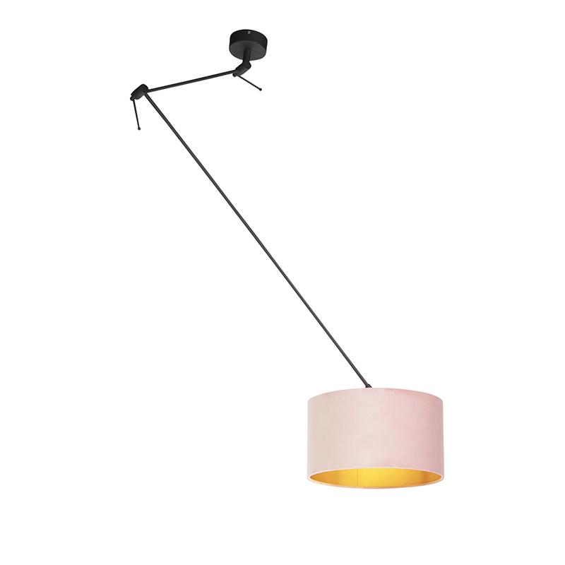 Hanglamp met velours kap oud roze met goud 35 cm - Blitz I zwart