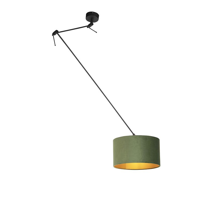 Hanglamp met velours kap groen met goud 35 cm - Blitz I zwart