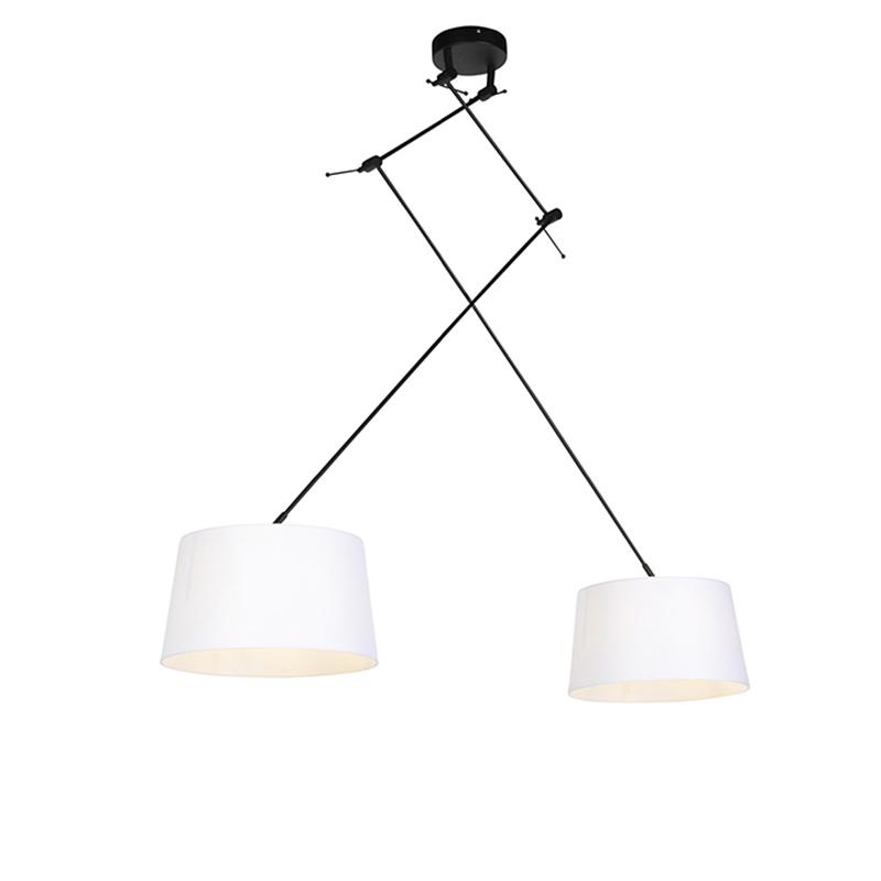 Hanglamp met linnen kappen wit 35 cm - Blitz II zwart