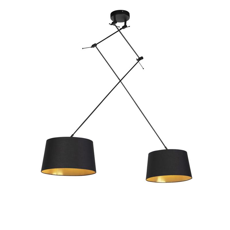 Hanglamp met katoenen kappen zwart met goud 35 cm - Blitz II zwart