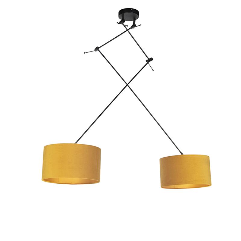 Hanglamp met velours kappen oker met goud 35 cm - Blitz II zwart