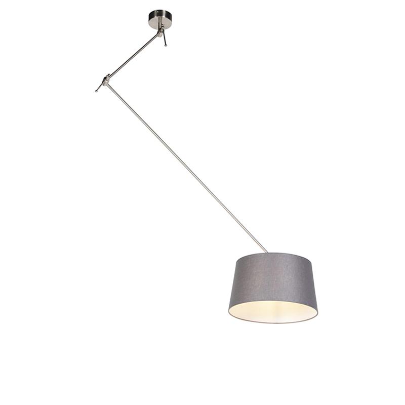 Hanglamp met linnen kap donkergrijs 35 cm - Blitz I staal