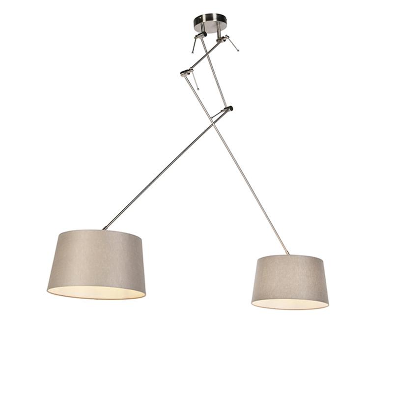 Hanglamp met linnen kappen taupe 35 cm - Blitz II staal