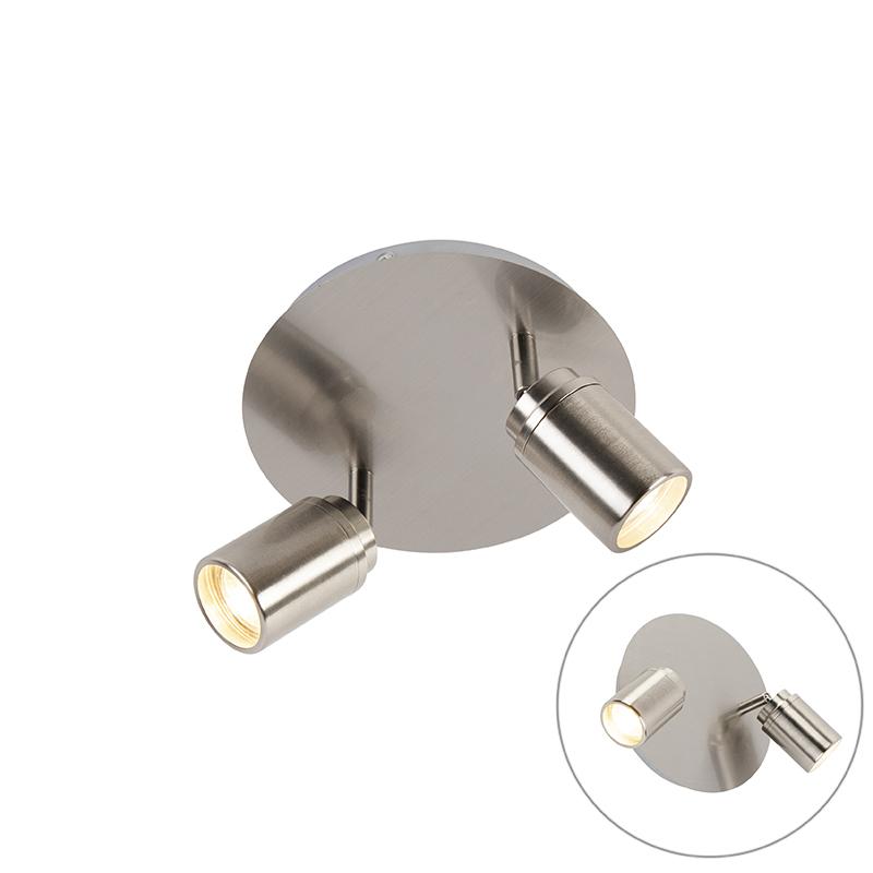 Moderne badkamer spot staal 2-lichts IP44 - Ducha